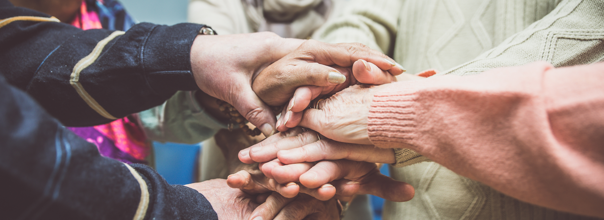 Group of senior citizens' hands
